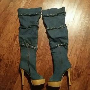 Shoes - Peep Toe Denim Bootie Size 9.5